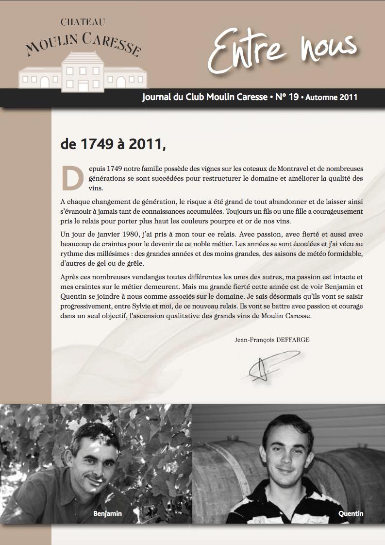 JOURNAL DU CLUB MOULIN CARESSE N°17 AUTOMNE 2009